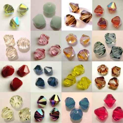 Stenya Ornamen Crystal Bahasa Swedia Manik-manik Bicone Ragam Aksesoris Kalung Rumbai Busur Simpul Headband Perhiasan Anting-Anting Gelang DIY