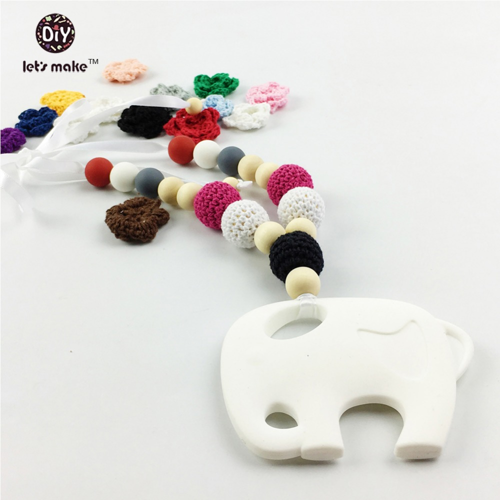 Let's make Silicone Necklace Baby Teether Crochet Beads Elephant Shaped Teething Pendant Silicone infant toy Woman Jewelry