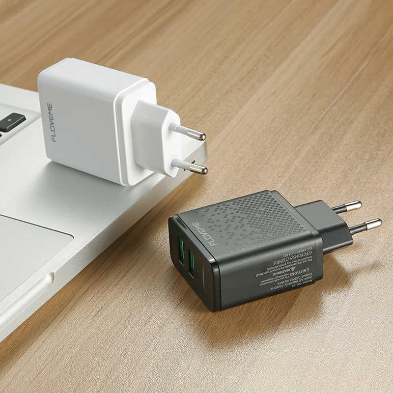 FLOVEME 5 V LED cargador USB Dual de carga para iPhone iPad Samsung Xiaomi cargador de viaje de pared rápida UE enchufe móvil cargadores de teléfono
