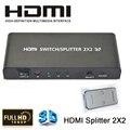 Qualidade 2x2 hdmi splitter 2 em 2 out hdmi switcher v1.4 suporte adaptador conversor de áudio e vídeo HDTV 1080 P 3D Com Controle Remoto IR