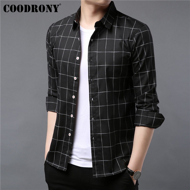 COODRONY Brand Men Shirt Autumn Clothes Business Casual Shirts Classic Plaid Shirt Men Long Sleeve Cotton Camisa Masculina 96052