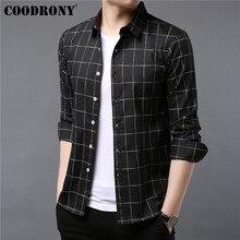 COODRONY marka erkek gömlek sonbahar giysileri iş rahat gömlek klasik ekose gömlek erkekler uzun kollu pamuk Camisa Masculina 96052