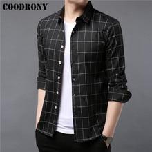 COODRONY מותג גברים חולצה סתיו בגדי עסקים מקרית חולצות קלאסי משובץ חולצת גברים ארוך שרוול כותנה Camisa Masculina 96052