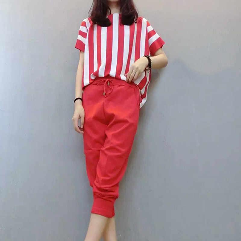 UHYTGF, женские комплекты одежды, большие размеры, полосатая футболка, топ и укороченные брюки, весна-лето, комплект из двух предметов, женский спортивный костюм 1322