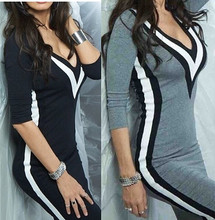 Plus Size S~XL Fashion Bottoming Color Patchwork Quarter Sleeve Deep V Neck Sexy Bodycon Tight Women Autumn And Winter Dress