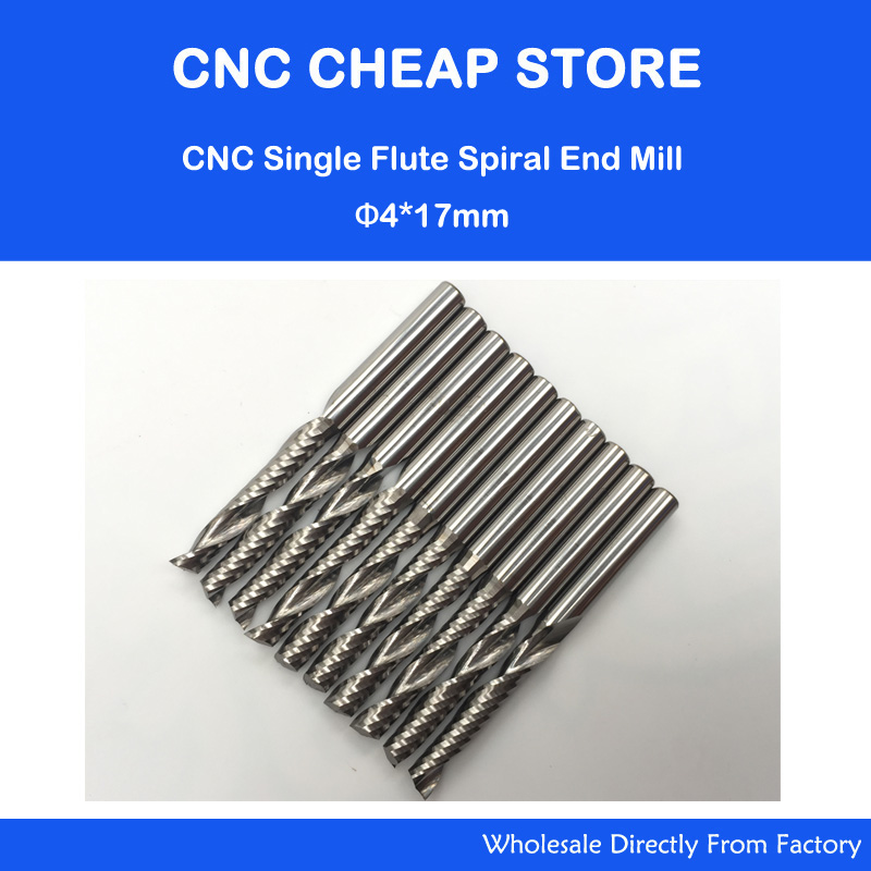 10pcs 4*17MM Single Flute Bit Carbide End Mill Set, CNC Router End Mills for Wood Cutter Milling, Acrylic Cutting Bits 6 35 22mm carbide cnc router bits single flute spiral carbide mill engraving bits a series for smooth cutting wood acrylic