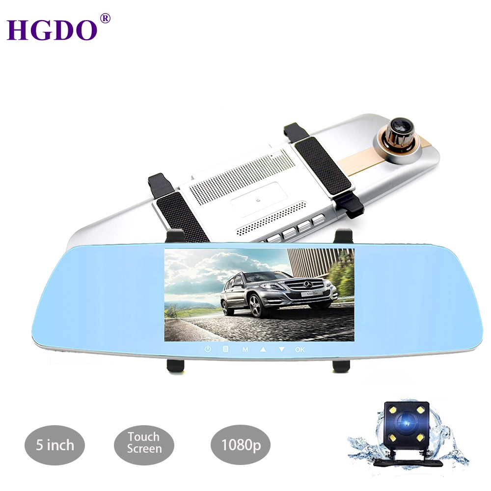 HGDO 5 Inch Touch Screen Car Dvr Full HD 1080P Video Recorder Auto Registrar Mirror Rear View Camera Night Vision Dash Cam Dvrs