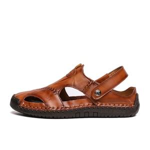 Image 2 - ZUNYU yeni Casual erkek yumuşak sandalet rahat erkek yaz deri sandalet erkekler roma yaz açık plaj sandaletleri büyük boy 38 48