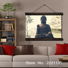 Buddha Peace Scroll Painting Modern Home Framed  Hanging Wall Decoration Artworks in High Definition Print Poster