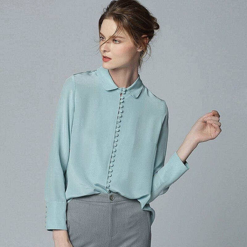100% шелковая блузка Для женщин большие размеры Рубашка Кнопки украшения одноцветное одежда с длинным рукавом 2 цвета офисные Топ Элегантный