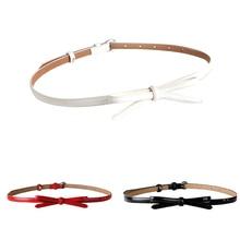 JIMMYHANK Decorative Women Casual Faux Leather Red Bowknot Belt Slim Thin Waist Summer Mini Dress Bow
