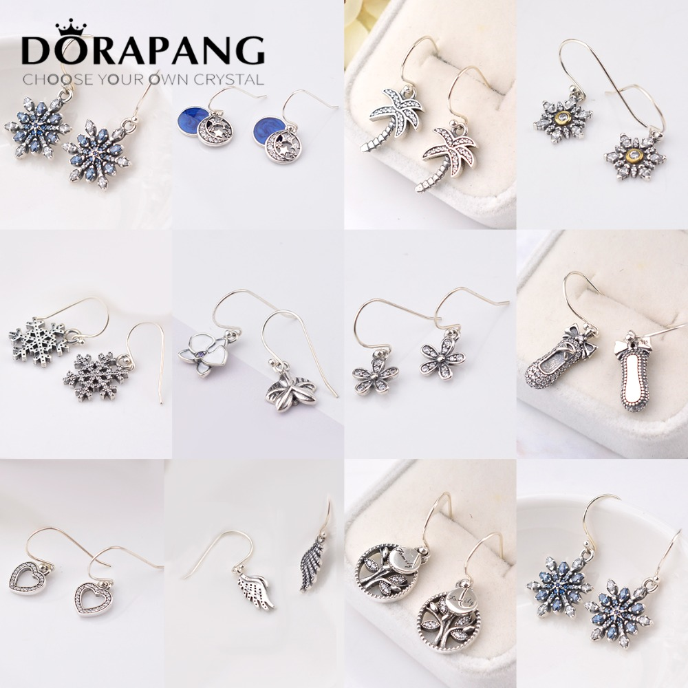 DORAPANG 100% 925 Sterling Silver Earrings Flower type Hollow Ear Studs Ear hook charm Beads Fit Bracelet DIY Dangler Wholesale
