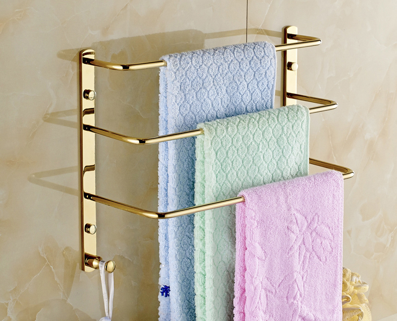 Gold Finish 3 Tier Bathroom Towel Bars Wall Mounted Clothes Towel ...