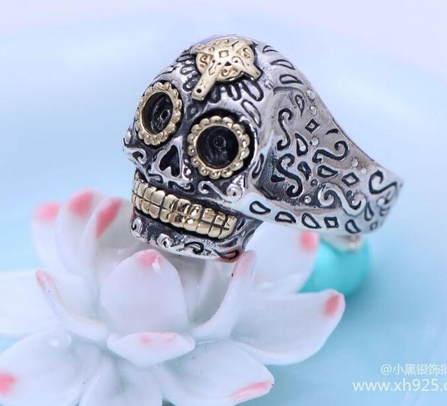Black silver jewelry wholesale 925 Sterling Silver Vintage Silver Cross Skull Ring Opening