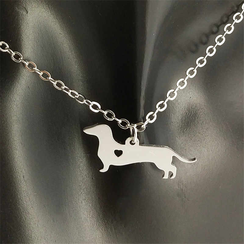 Dachshund Necklace 304 Stainless Steel Silver Plated Dachshund Heart Pendant Necklace Dog Memorial Jewellery Gift 12pcs/lot