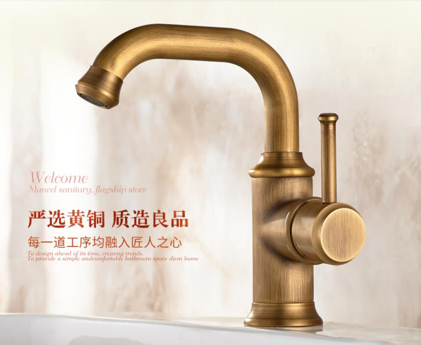 European basin faucet European-style wash basin faucet hot and cold copper washbasin basin antique faucet european style hot and cold basin faucet black faucet black ancient stage basin hot and cold waterfall faucet lu41223