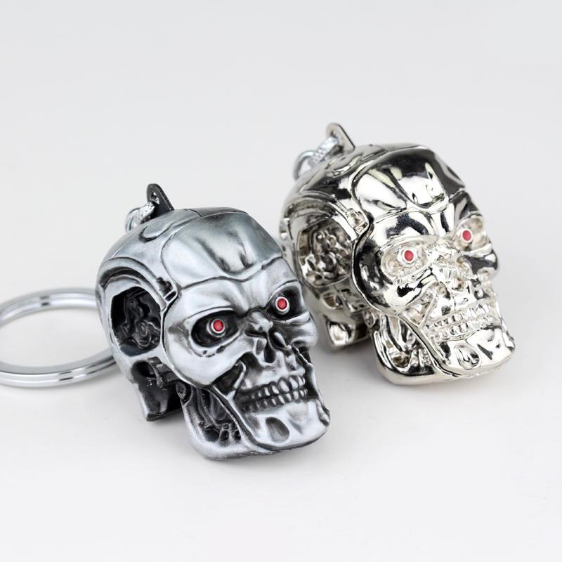 RJ Fashion Jewelry War Game terminator Skull Keyring 3D Gothic Skull Skeleton Metal Keychain Pendant For Men Fans Gift Chaveiro