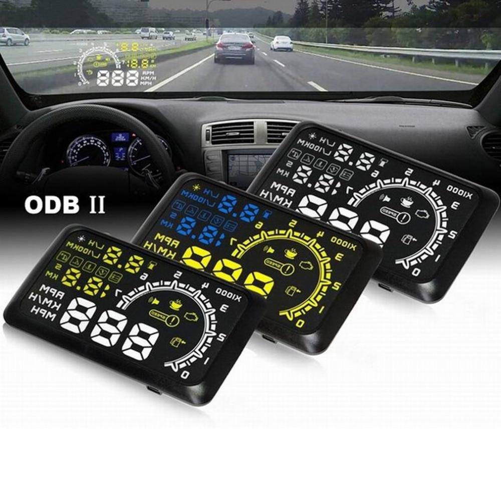 2018 Universal Car HUD Head Up Display Projector 5.5 Inch OBD 2 Interface Speeding Warning Alarm System Digital Car Speedometer