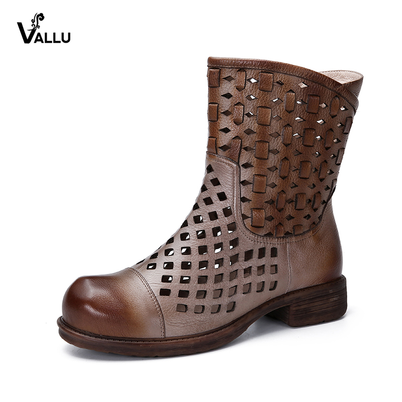 VALLU Women Summer Boots Genuine Leather Hollow Out Chunky Heels Shoes Slip On Mid Calf Boots Ladies Sandals double buckle cross straps mid calf boots