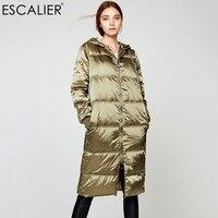 Womens Long Down Jackets Army green Windproof Waterproof Parka 100%Silk Nylon Hooded White Duck Down Coat Escalier