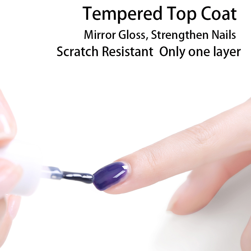 2019 New Arrival 10ml Tempered No Wipe Top Coat Base Gel Top Coat Matte Top Manicure Nail Gel Varnish Long Lasting Nail Art in Nail Gel from Beauty Health
