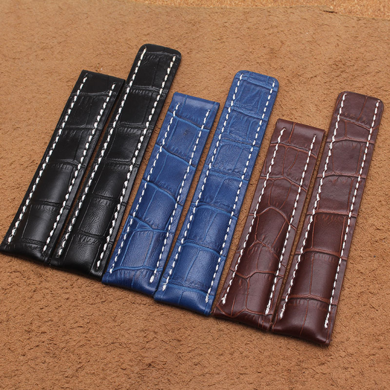ФОТО Fashion Genuine Leather Watchbands Belt 22mm 24mm Brown Blue Black High Quality Men Strap Metal Buckle For brand wristwatch band