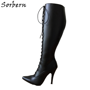 Sorbern Black Matt Knee High Boots For Women Stilettos 12Cm High End Boots Non Slip Shoes Womens Heeled Boots Females Womens