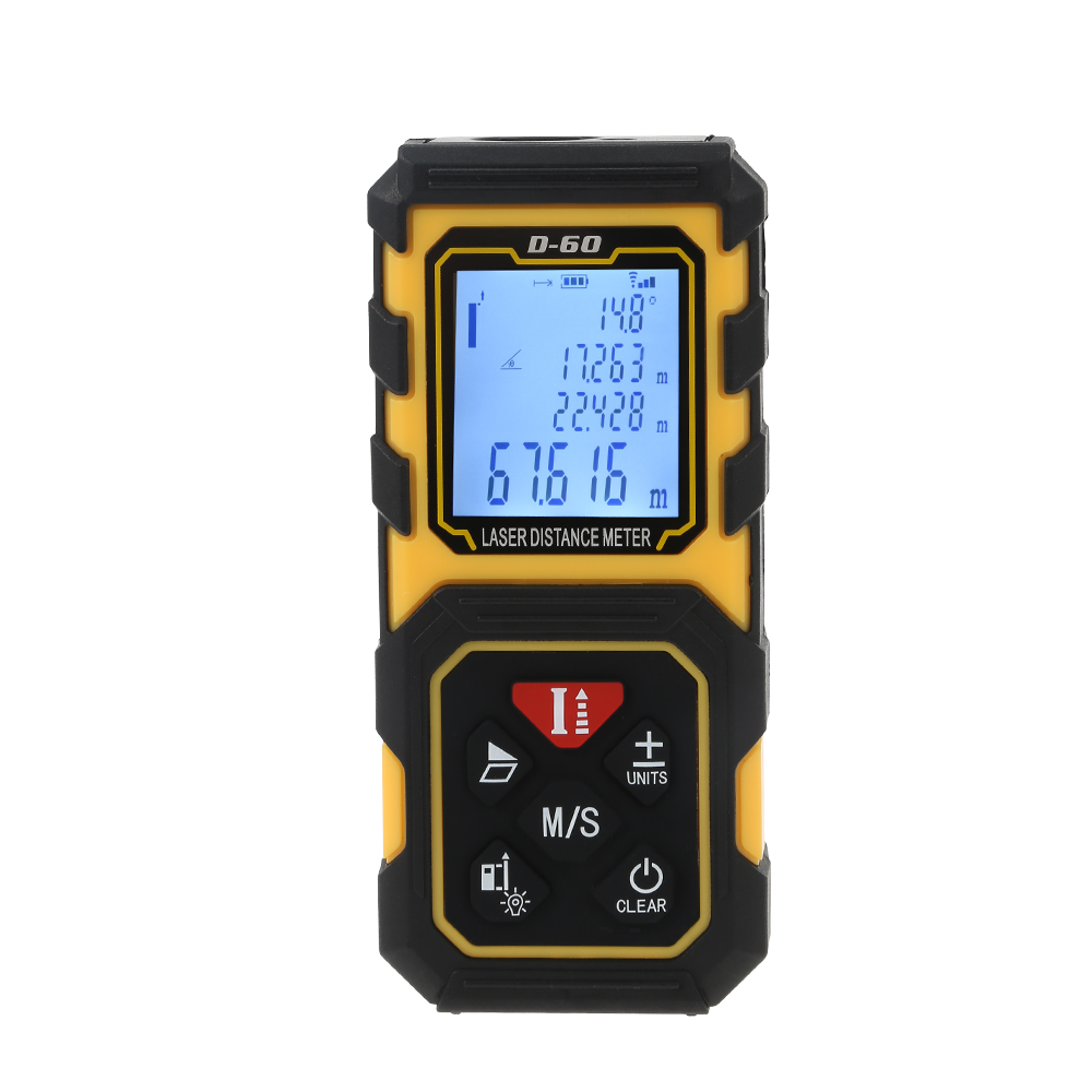 Laser Rangefinder 60M 80M 100M Distance Meter Laser Tape Range Finder Digital Area-Volume-Angle Tape Measure Tool LCD Display mileseey rangefinder s6 40m 60m 80m 100m laser distance meter blue digital range finder area volume laser measuring instrument