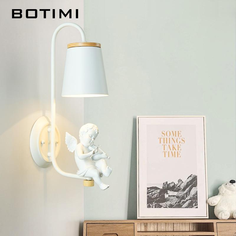 BOTIMI Nordic настенный светильник в Белый светодиодный бра декоративные прикроватные лампы White Hotel настенный светильник деревянный освещения
