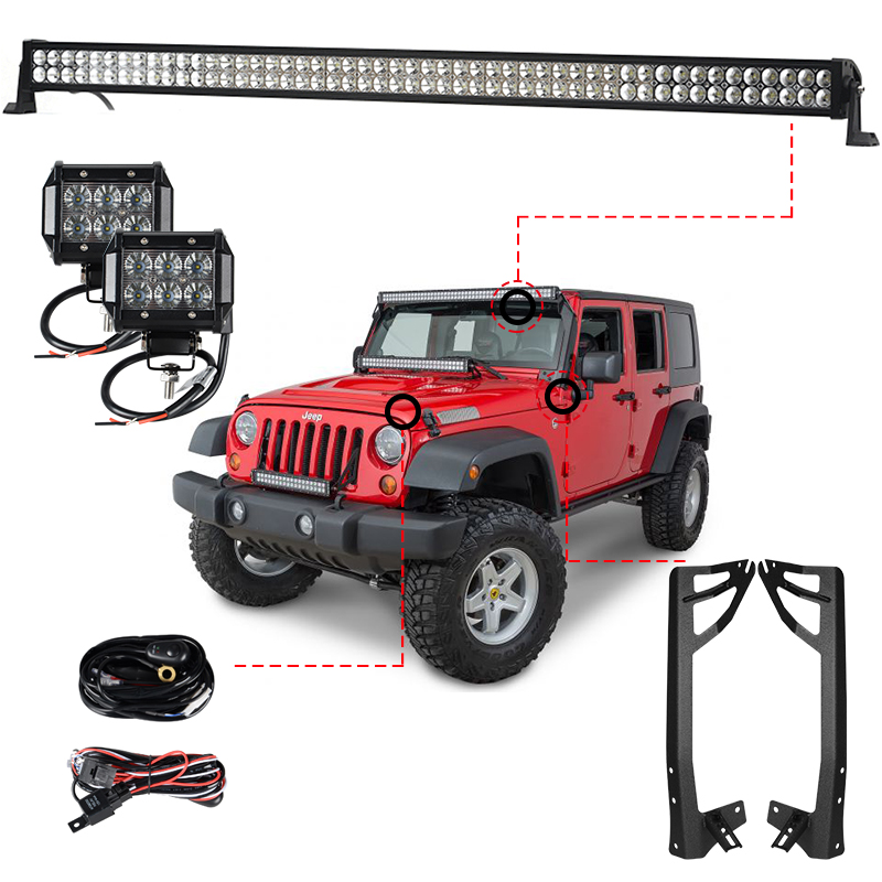 300W 52''LED Light Bar + 2x18W Work Light + Wiring Harness Relay Windshield Mounting Brackets for Jeep Wrangler JK 07-15 4WD SUV auxmart 22 led light bar 3 row 324w for jeep wrangler jk unlimited jku 07 17 straight 5d 400w led light bar mount brackets