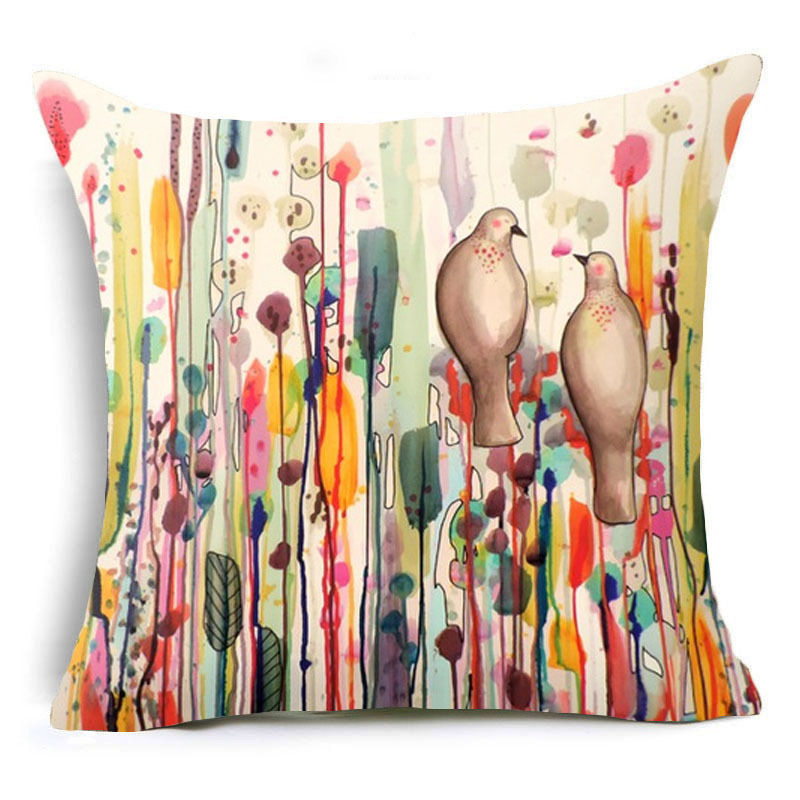 monily nordic new flower with birds cushion covers painting