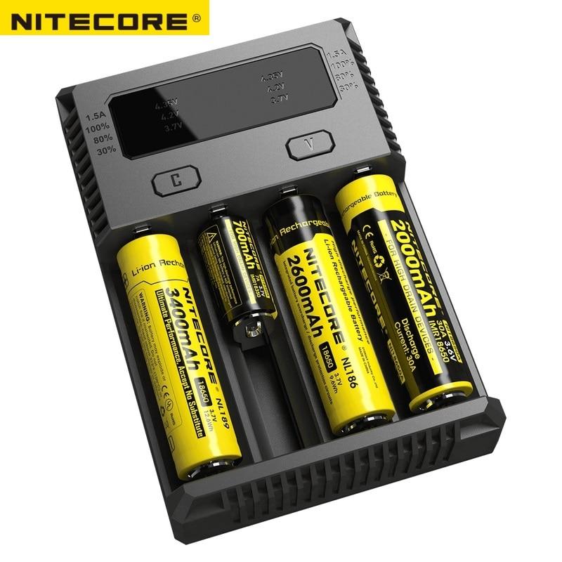 Новый <font><b>NITECORE</b></font> <font><b>I4</b></font> Зарядное устройство Smart Intelli Зарядное устройство батареи Зарядное устройство для Li-ion/IMR Nicd 16340 14500 18650 26650 AA AAA батареи