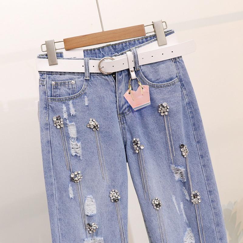 289cfd16dc Las Agujeros Y Crunch Estudiantes Metal Primavera Jeans 2019 Mujeres  Diamante Pesado De Es Harlem Pantalones Roto Azul ...