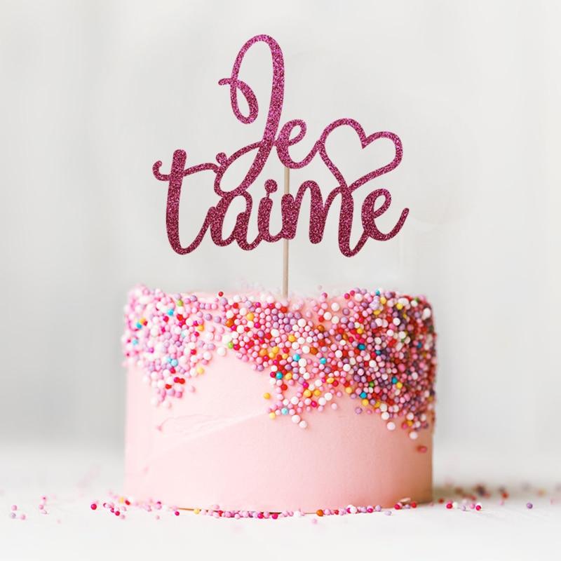 Je T'aime Cake Topper - Glitter tema de París Decoración de bodas - Para fiestas y celebraciones - foto 5