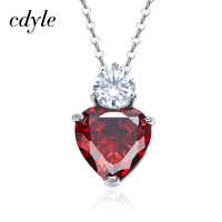 Cdyle Women Pendants Necklaces Fashion S925 Sterling Silver Jewelry Heart Shape Red Crystals Australian Rhinestone Paved