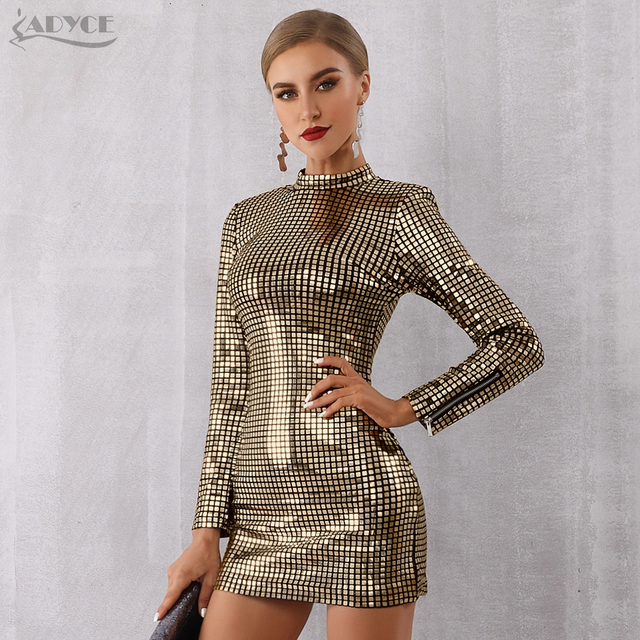 3ea1970a84df0 US $39.21 49% OFF|Adyce 2019 New Arrival Women Spring Celebrity Runway  Party Dress Silver Color Long Sleeve Sequin Mini Luxury Club Dress  Vestidos-in ...