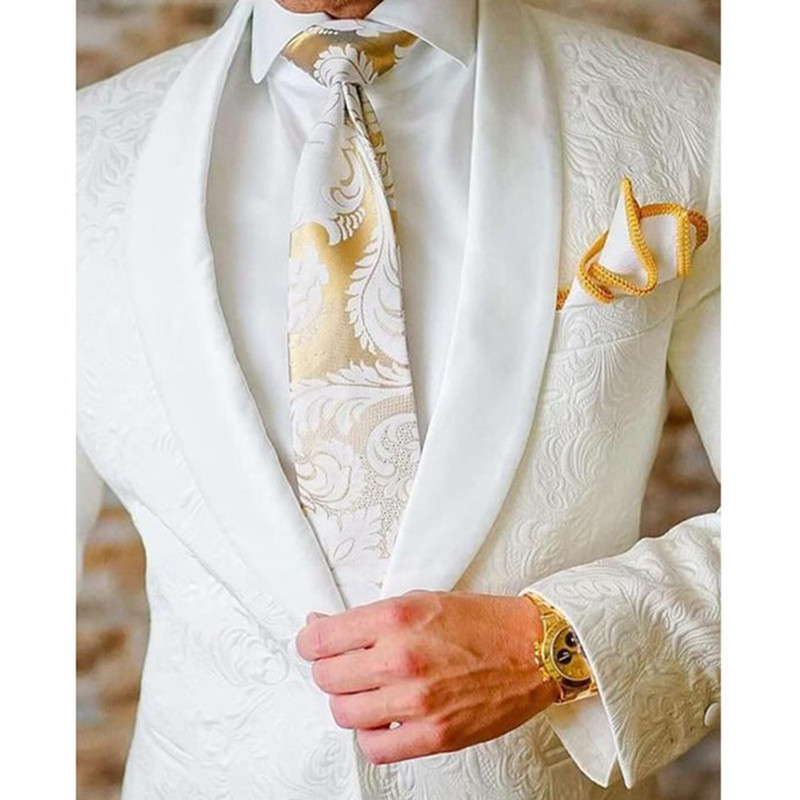 Custom Men's Suits Style White Groomsmen Shawl Lapel Groom Tuxedos Men Suits Wedding Best Man Blazer 2 Pieces(Jacket+Pants)