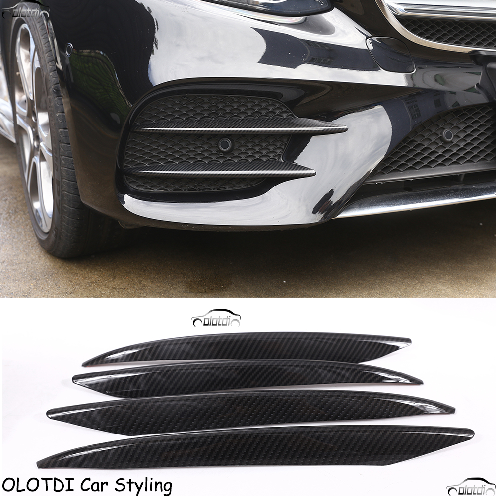 Car Styling Carbon Fiber Look ABS Plastic Front Fog Lamp Strips Trim For Mercedes Benz E Class W213 2016 2017 E43 AMG Auto Part car front fog lamps cover grille slats car fog lights cover decoration strips car styling for mercedes benz e class w213 2016