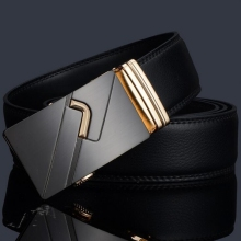 Men Belt Automatic Buckle Leather Belt Men's Belts Cow Split Leather 115cm-125cm and Leisure Belt