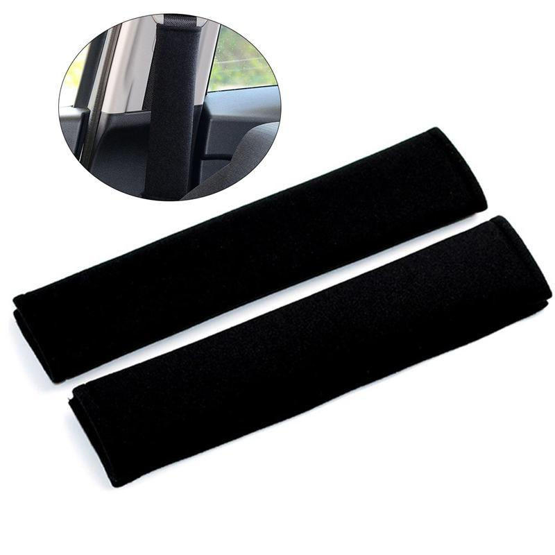 2pcs Car Seat Belt Safety Belt Shoulder Strap Cover Harness Pads (Black)