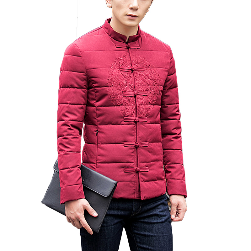 ФОТО High Quality Autumn Winter Chinese Style Men Black Casual embroidery Clothing Man Black Outerwear Jackets and Coats Plus Size