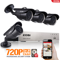 ZOSI HD 720P 4CH CCTV System DVR 4PCS 1 0MP IR Weatherproof Outdoor Video Security Camera