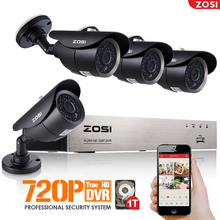 ZOSI HD 720P 4CH CCTV System DVR 4PCS 1.0MP IR Weatherproof Outdoor Video Security Camera System 4 Channel Surveillance Kit 1TB