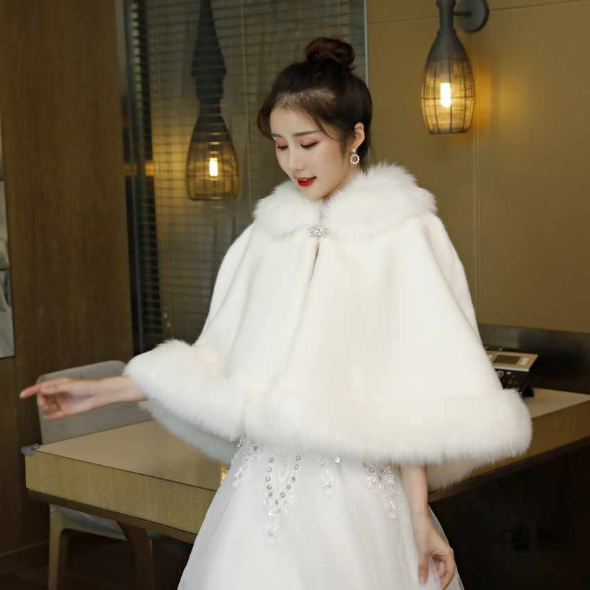 Elegant Wedding Jacket Women Faux Fur Bolero Bridal Wraps Shawls Warm Winter Scarf 2019