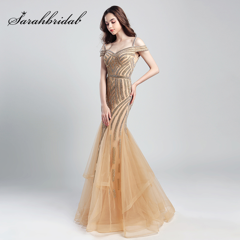 Romantic Beading Long Mermaid   Evening     Dresses   2018 New Arrival Tulle Ruched Off the Shoulder Formal Prom Party Real Gowns OL494