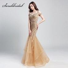 Romantische Perlen Lange Meerjungfrau Abendkleider 2019 Neue Ankunft Tüll Rüschen Off die Schulter Formale Prom Party Wirkliche Kleider OL494