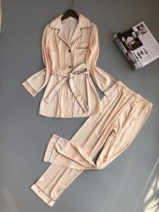Image 3 - 여자 실크 새틴 잠옷 잠옷 세트 긴 소매 잠옷 Pijama Feminino 잠옷 정장 여성 수면 두 조각 세트 Loungewear