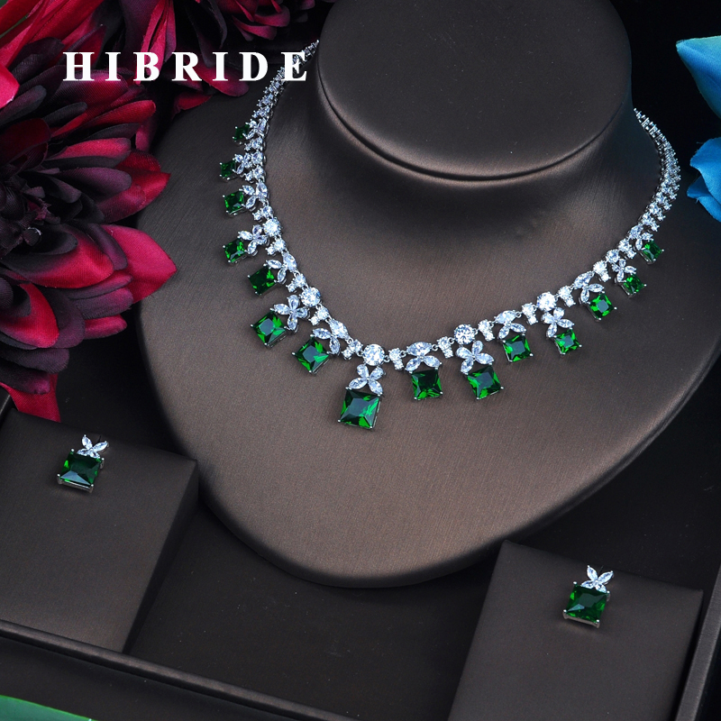 HIBRIDE Sparkling Green Cubic Zirconia Jewelry Sets For Women Earring Necklace Set Wedding Dress Accessories Party Gifts N-485HIBRIDE Sparkling Green Cubic Zirconia Jewelry Sets For Women Earring Necklace Set Wedding Dress Accessories Party Gifts N-485