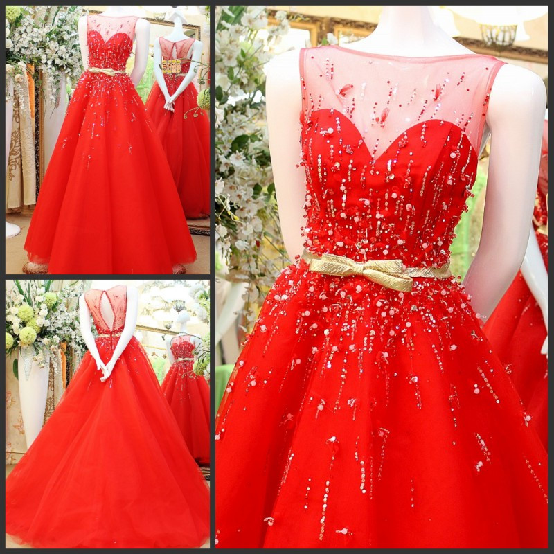 2016 New Design Elegant A Line Formal   Dresses   Lace Crystals Sash Long Red   Evening     Dress   Robe De Soiree IZ514