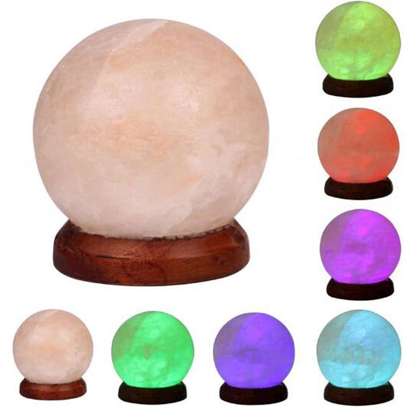Anion Himalayan Salt Lamp 3W USB LED Night Light Table Desk Lamp Crystal Rock Carved Sphere Changeable Lights Decorations lamp new led night light eu us plug himalayan salt lamp air purifier crystal salt rock night lamp for office desk bedside bedroom